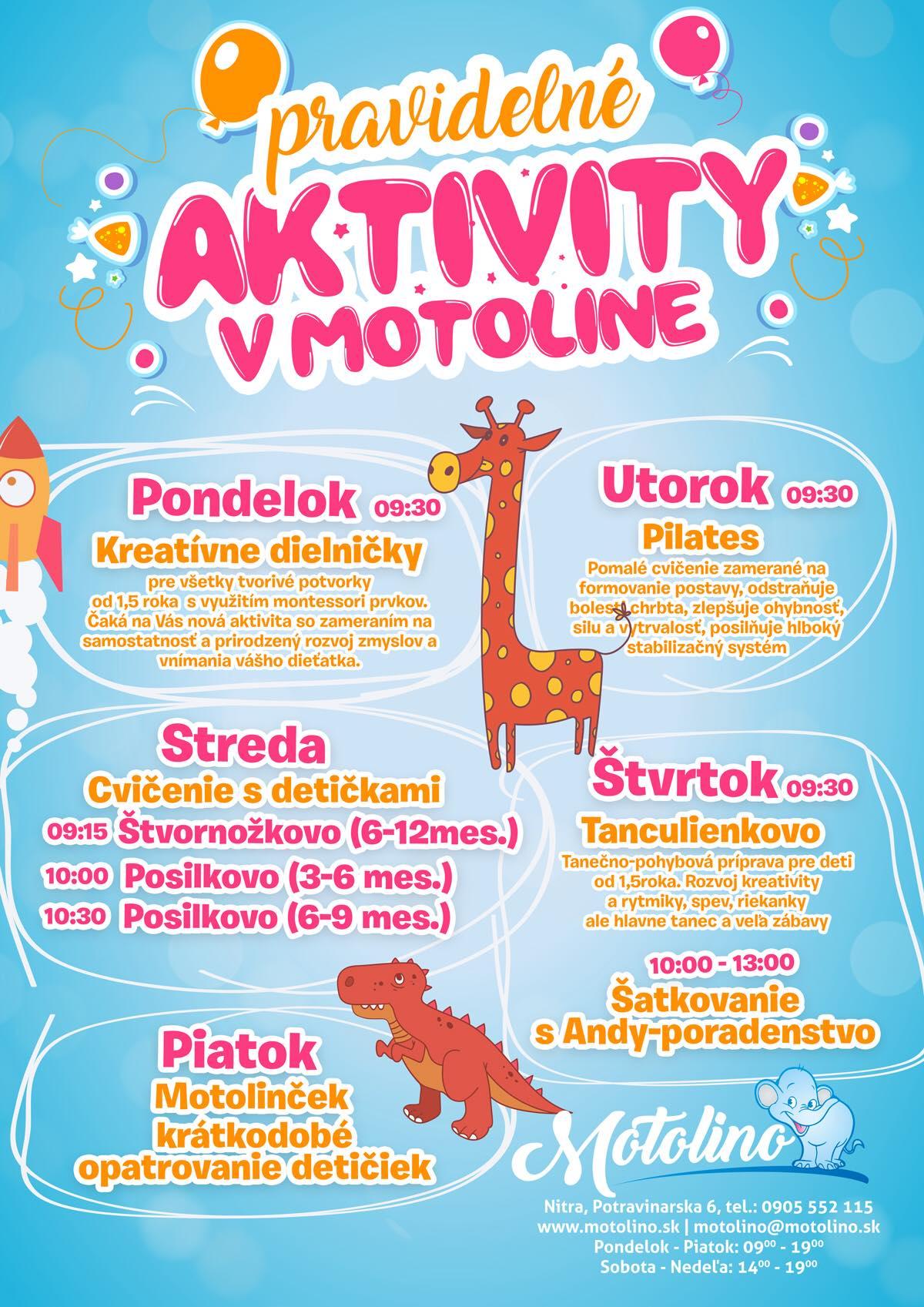 pravidelne aktivity Motolino